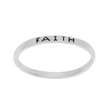 Itsy Bitsy Sterling Silver Faith Band Ring