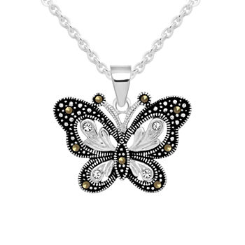 Sparkle Allure Crystal Pure Silver Over Brass 18 Inch Cable Butterfly Pendant Necklace