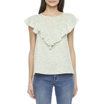 a.n.a Womens Crew Neck Short Sleeve Blouse