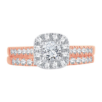 Womens 1 CT. T.W. Genuine White Diamond 10K Rose Gold Halo Bridal Set