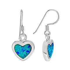 Simulated Blue Opal Sterling Silver Dangle Earrings