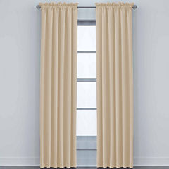JCPenney Home Made-To-Length Matte Satin Rod-Pocket Unlined Curtain Panel