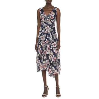 Connected Apparel Sleeveless Floral High-Low Fit & Flare Dress