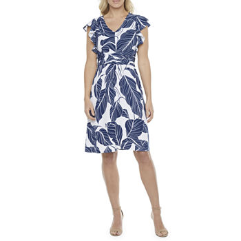 Liz Claiborne Short Sleeve Leaf A-Line Dress