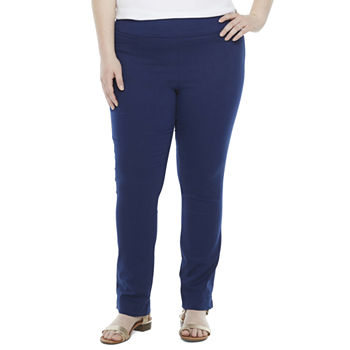 St. John's Bay-Plus Womens Mid Rise Straight Pull-On Pants