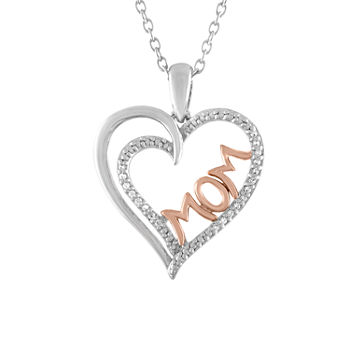 Womens Genuine Diamond Accent Sterling Silver Heart Pendant