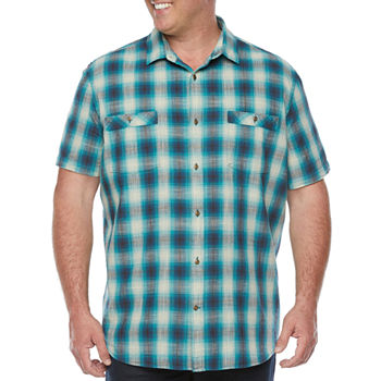The Foundry Big & Tall Supply Co. Mens Short Sleeve Ombre Button-Down Shirt