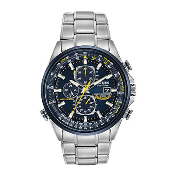 Citizen World Chronograph A-T Mens Chronograph Multi-Function Atomic Time Silver Tone Stainless Steel Bracelet Watch - At8020-54l