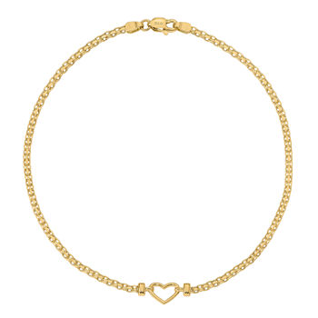 14K Gold 9 Inch Solid Heart Ankle Bracelet