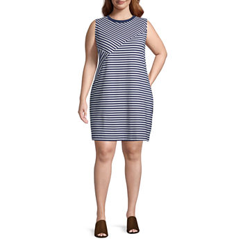 Liz Claiborne Sleeveless Stripe Mix Dress - Plus