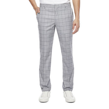 JF J.Ferrar Ultra Comfort Mens Windowpane Slim Fit Suit Pants