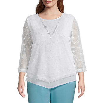 Alfred Dunner Sea You There Womens Plus Round Neck 3/4 Sleeve T-Shirt