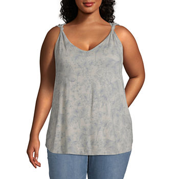 a.n.a Plus Womens V Neck Sleeveless Tank Top