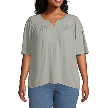 a.n.a Plus Womens Split Crew Neck Short Sleeve Blouse