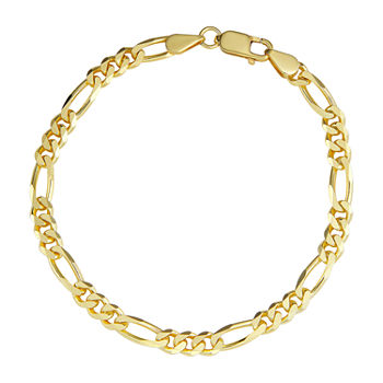 Made in Italy 18K Gold 8 1/2 Inch Hollow Figaro Chain Bracelet