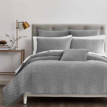 Fieldcrest Luxury Cotton Chevron Velvet Quilt