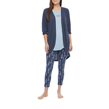 Ambrielle Womens Pajama + Robe Set 3-pc. Sleeveless Top and Cardigan