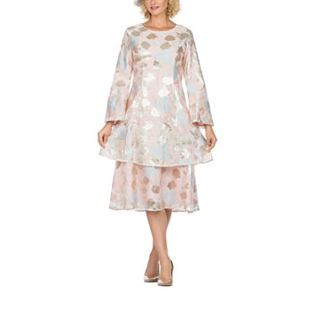 Giovanna Collection Long Sleeve Floral Midi A-Line Dress-Plus