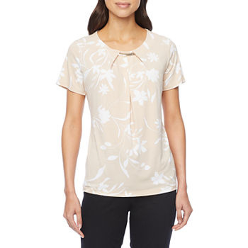 Liz Claiborne-Tall Womens Round Neck Short Sleeve Blouse