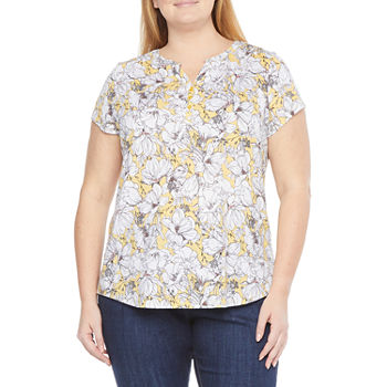 Liz Claiborne-Plus Womens Split Crew Neck Short Sleeve Henley Shirt