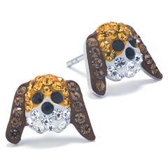 Silver Treasures Round Multi Color Stud Earrings