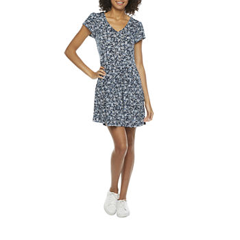 by&by Short Sleeve Babydoll Dress-Juniors