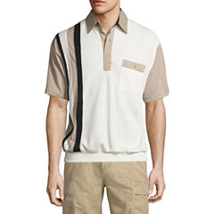 Palmland Short Sleeve Panel Knit Polo Shirt