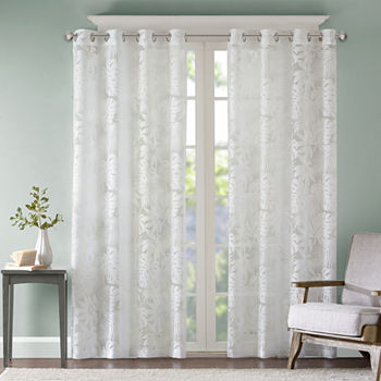Madison Park Kauna Palm Leaf Sheer Grommet-Top Single Curtain Panel
