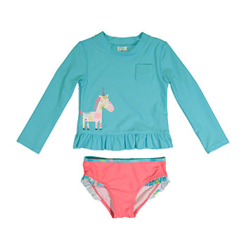 Kiko & Max Baby Girls Animal Rash Guard Set