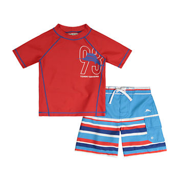 Tommy Bahama Baby Boys Striped Rash Guard Set