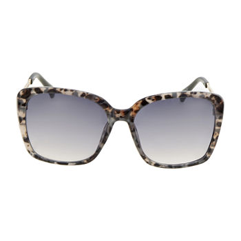 Mixit Leopard Square With Metal Temples Womens Sunglasses