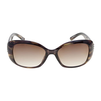 Mixit Medium Plastic Rectangle With Leaf Detail Womens Sunglasses