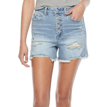 "Vanilla Star Womens High Rise 4"" Denim Short-Juniors"