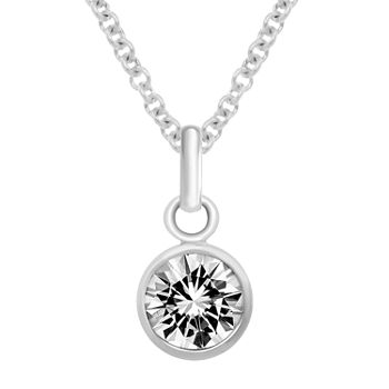 Itsy Bitsy Birthstone Made With Swarovski Crystal Sterling Silver 18 Inch Cable Pendant Necklace