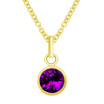 Itsy Bitsy Birthstone Amethyst 14K Gold Over Silver 18 Inch Cable Pendant Necklace
