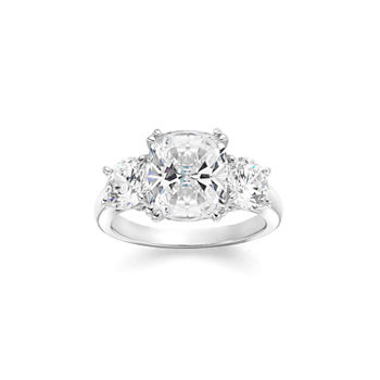 b9ea0ff7d T.W. White Cubic Zirconia Sterling Silver 3-Stone Engagement Ring