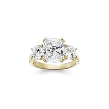 4bce3a412 T.W. White Cubic Zirconia 14K Gold Over Silver 3-Stone Engagement Ring