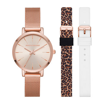 Skechers Womens Rose Goldtone Stainless Steel 3-pc. Watch Boxed Set-Sr9029