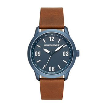 Skechers Cordary Mens Brown Leather Strap Watch-Sr5126