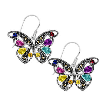 Sparkle Allure Cubic Zirconia Pure Silver Over Brass Butterfly Drop Earrings