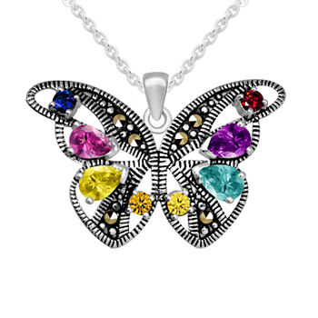 Sparkle Allure Cubic Zirconia Pure Silver Over Brass 18 Inch Cable Butterfly Pendant