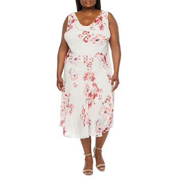 Robbie Bee-Plus Sleeveless Floral Puff Print Midi Fit & Flare Dress