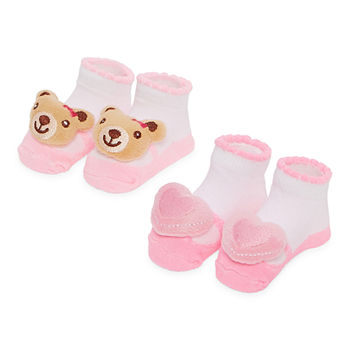 Piper & Jax Rattle Baby Girls 2 Pair Baby Booties