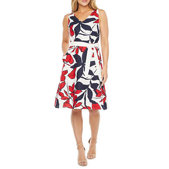 Liz Claiborne Sleeveless Floral A-Line Dress