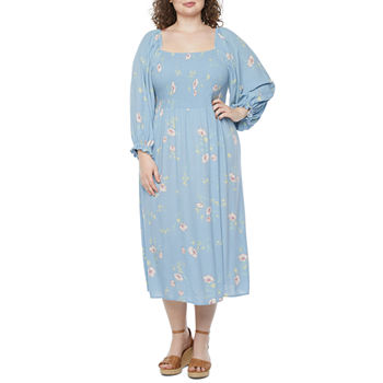 a.n.a Smocked Dress 3/4 Sleeve Midi Peasant Dress-Plus