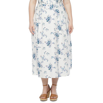 a.n.a-Plus Womens Floral A-Line Skirt