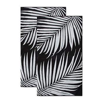 Loom + Forge Palm Leaf Organic Cotton Jacquard 2-Pack Beach Towel