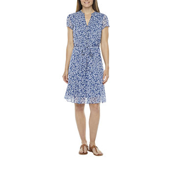 MSK-Petite Short Sleeve Shirt Dress