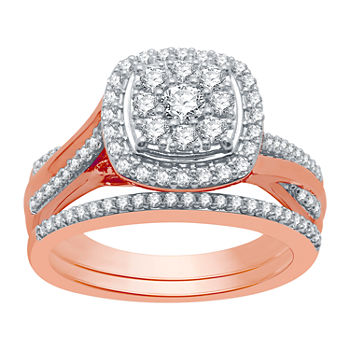I Said Yes Womens 3/4 CT. T.W. Lab Grown White Diamond 14K Rose Gold Over Silver Sterling Silver Bridal Set