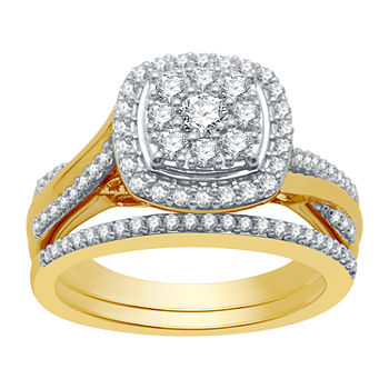 I Said Yes Womens 3/4 CT. T.W. Lab Grown White Diamond 14K Gold Over Silver Sterling Silver Bridal Set
